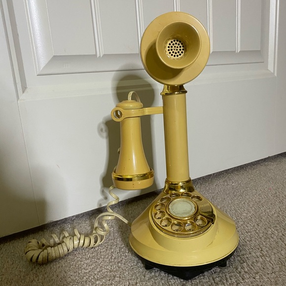 Vintage Electric Stick Rotory Dial Yellow Phone